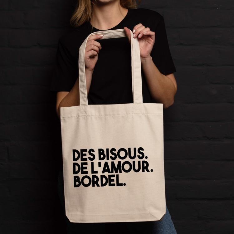 Shopping bag Des bisous. De l'amour. Bordel