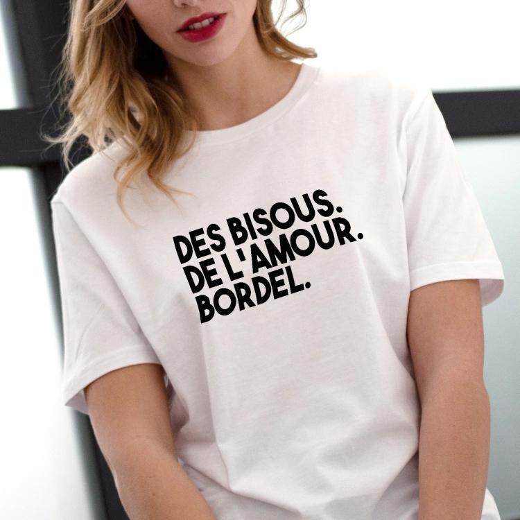 fantastic savings nice cheap best T-shirt Des bisous. De l'amour. Bordel - Femme