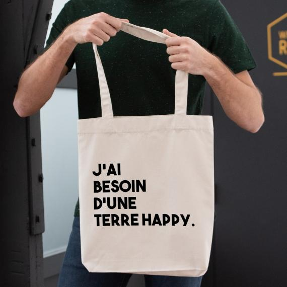 Shopping bag J'ai besoin d'une terre Happy