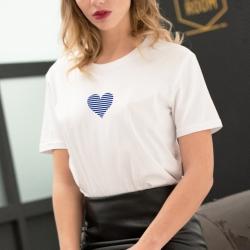 T-shirt Coeur Marinière - Femme - 1