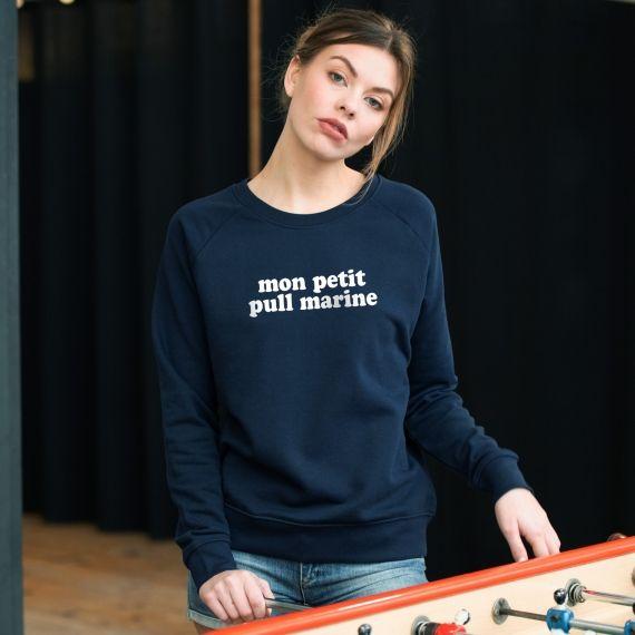 Sweat-shirt Mon petit pull marine - Femme
