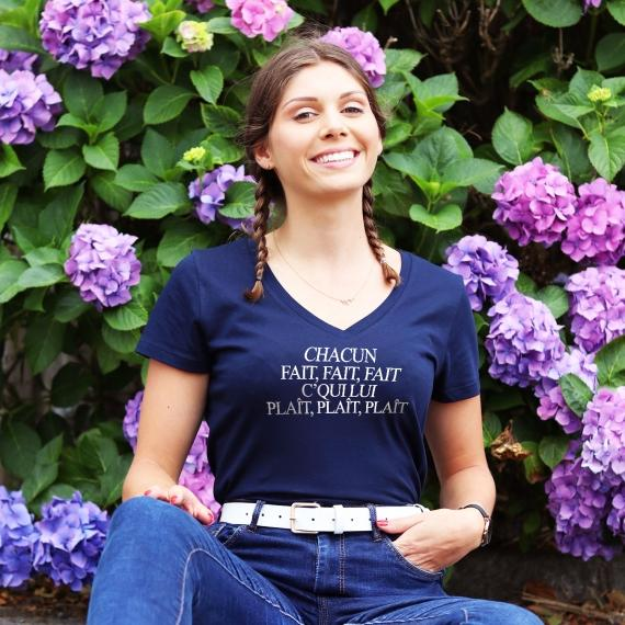 T-shirt col V - Chacun Fait Fait Fait - Femme