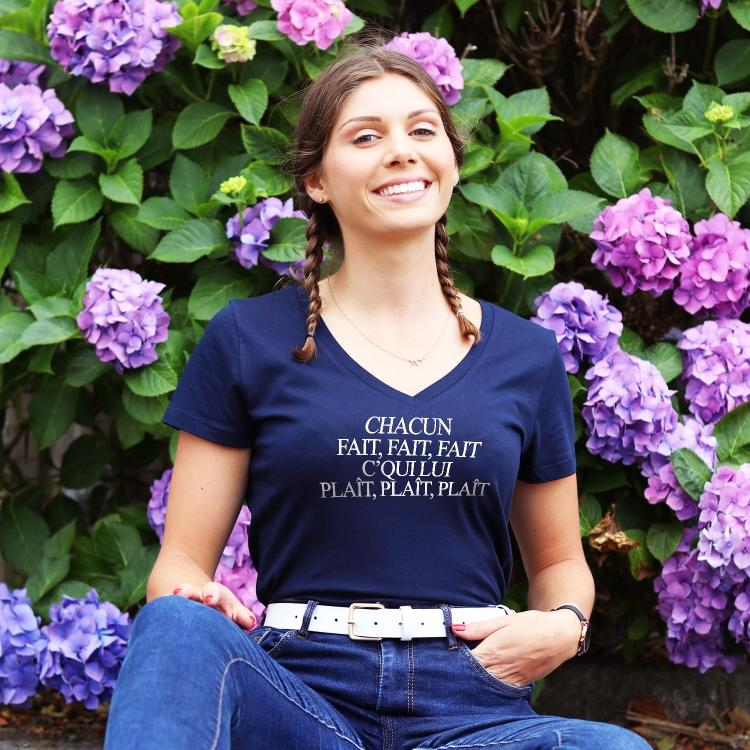 T-shirt col V - Chacun Fait Fait Fait - Femme - 1