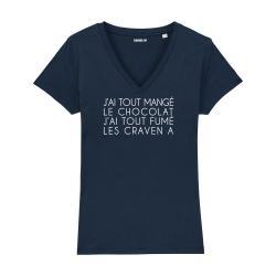 T-shirt col V - J'ai tout mangé le chocolat - Femme - 2