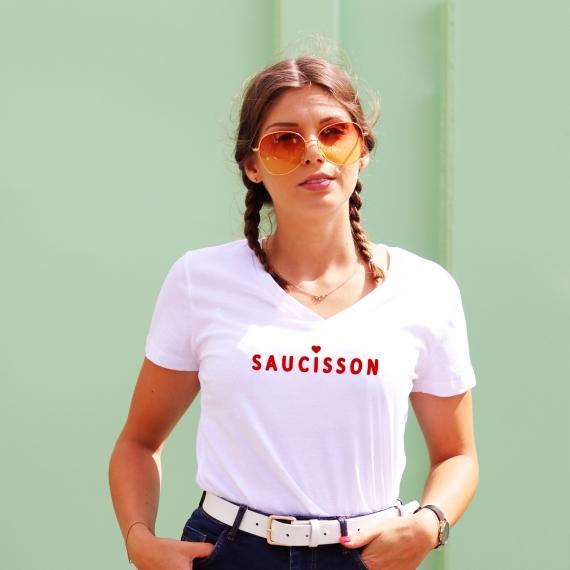 T-shirt col V - Saucisson - Femme