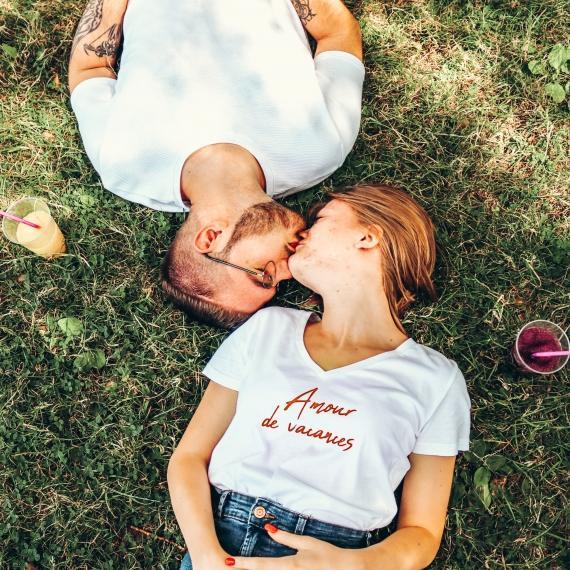 T-shirt col V - Amour de vacances - Femme