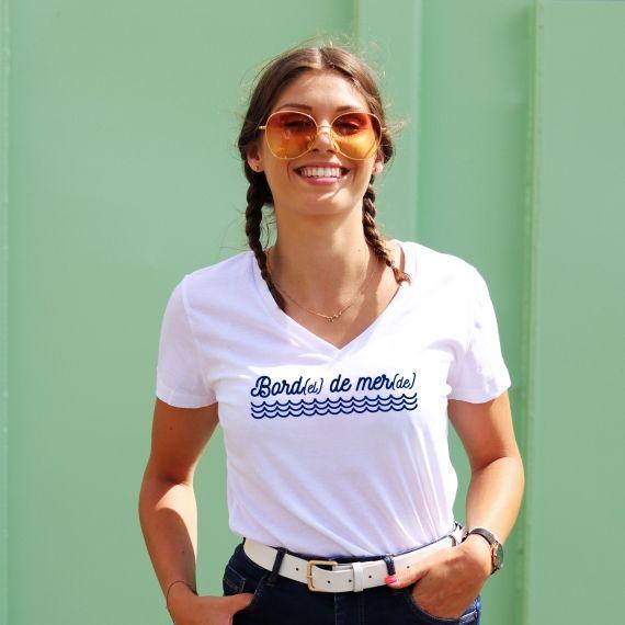 T-shirt col V - Bord(el) de mer(de) - Femme