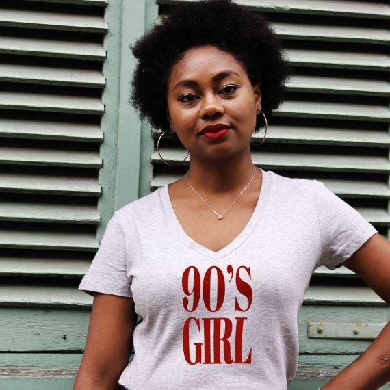 T-shirt col V - 90's Girl - Femme