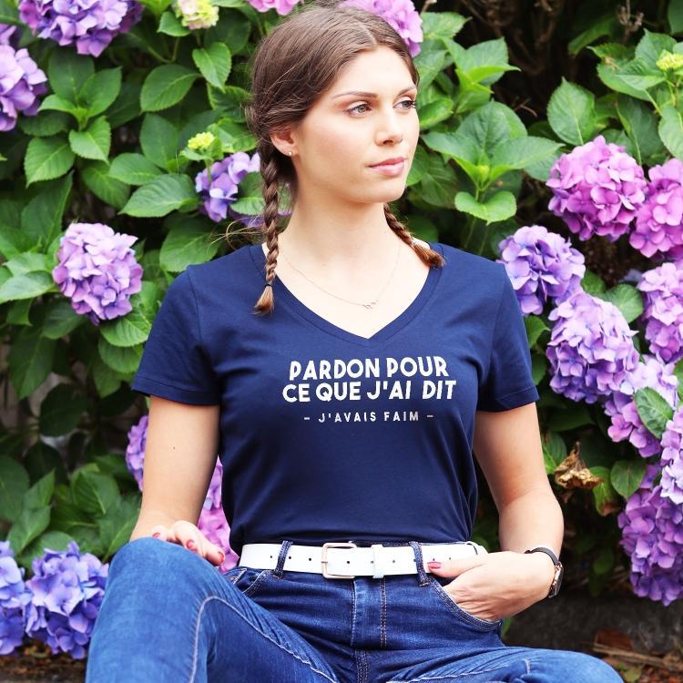 T-shirt col V - Pardon mais j'avais faim - Femme