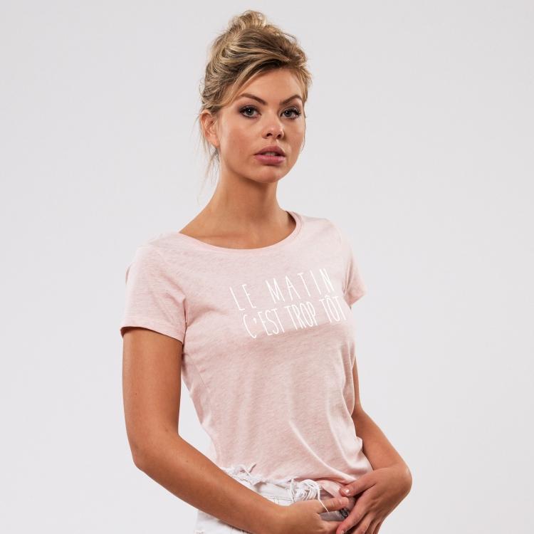 T-shirt Le matin c'est trop tôt - Femme - 1