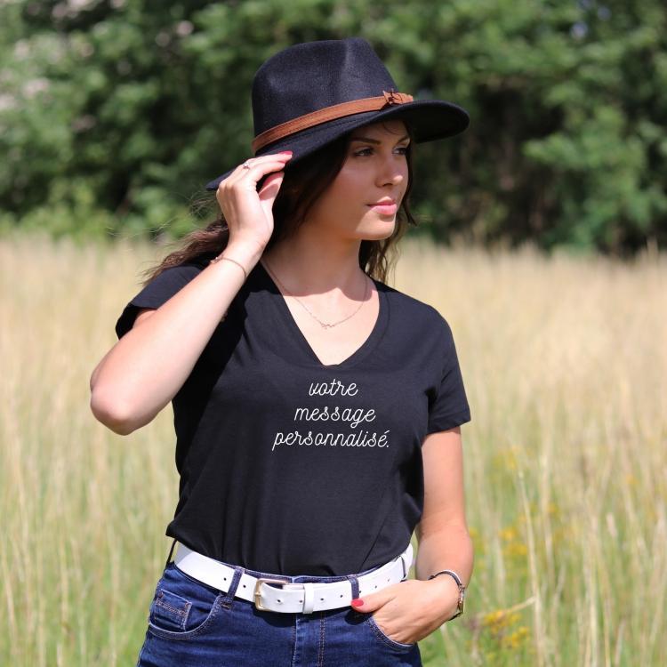 T-shirt Femme col V personnalisable