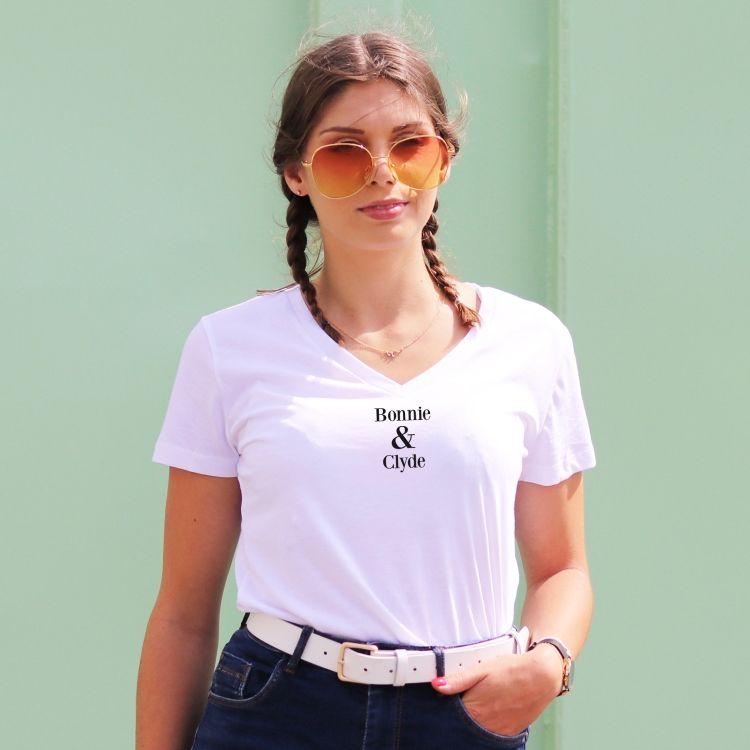 T-shirt col V - Bonnie & Clyde - Femme - 1
