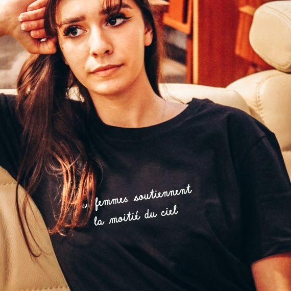 T-shirt Les femmes soutiennent la moitié du ciel - Femme