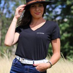 T-shirt Femme col V personnalisable côté cœur - 4