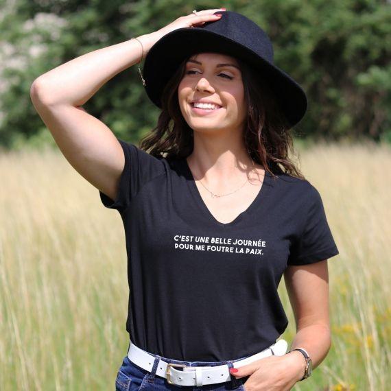 T-shirt col V - C'est une belle journée - Femme