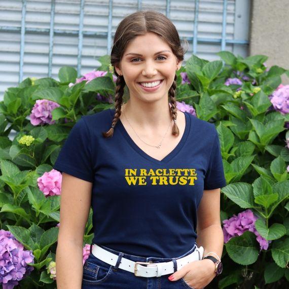 T-shirt col V - In raclette we trust - Femme