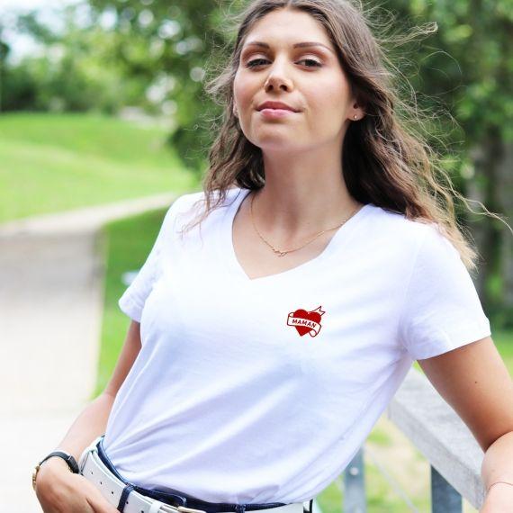 T-shirt col V - Maman Tatoo - Femme