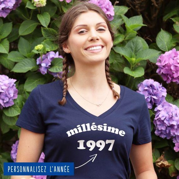 """T-shirt Femme col V """"Millésime"""" personnalisé"""