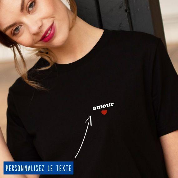 T-shirt Femme petit coeur personnalisé