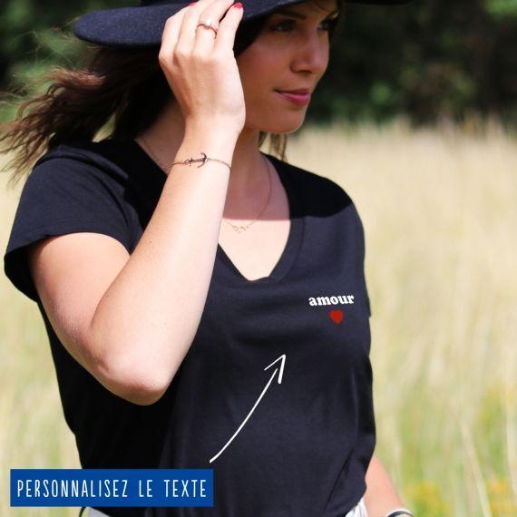 T-shirt Femme col V petit coeur personnalisé