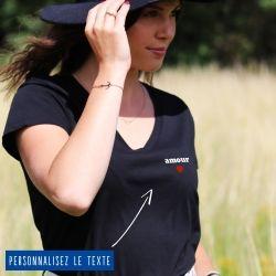 T-shirt Femme col V petit coeur personnalisé - 3