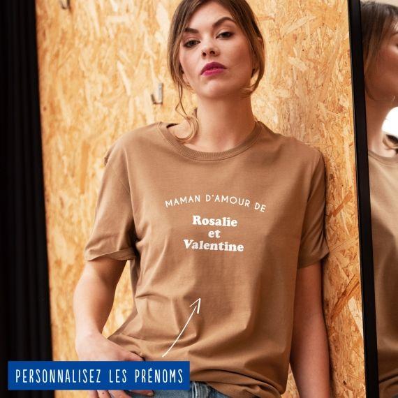 """T-shirt Femme """"maman d'amour de"""" personnalisé"""