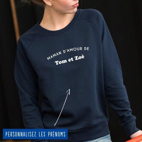 """Sweatshirt Femme """"maman d'amour de"""" personnalisé"""
