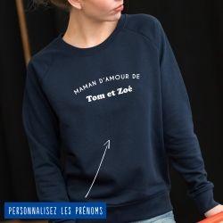 """Sweatshirt Femme """"maman d'amour de"""" personnalisé - 4"""