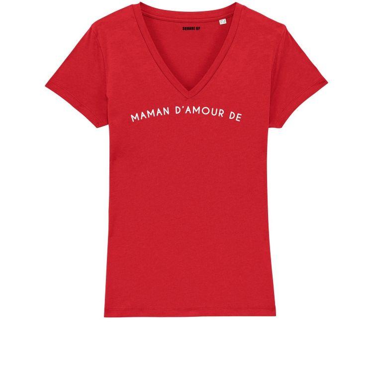 """T-shirt Femme col V """"maman d'amour de"""" personnalisé - 3"""