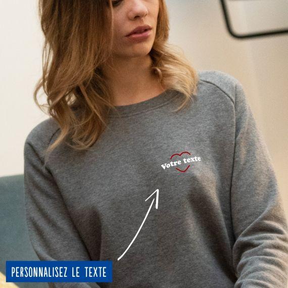 Sweatshirt Femme coeur rouge personnalisé