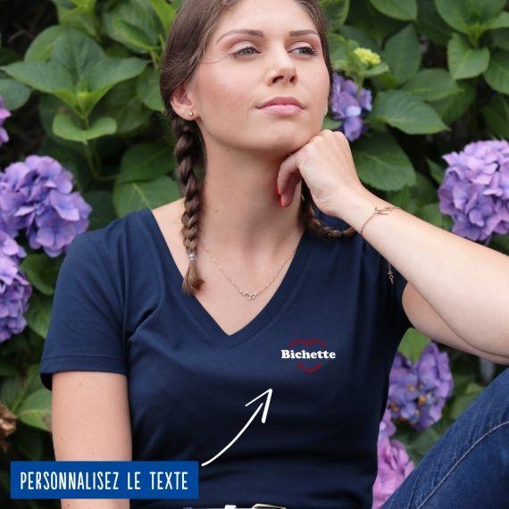 T-shirt Femme col V coeur rouge personnalisé