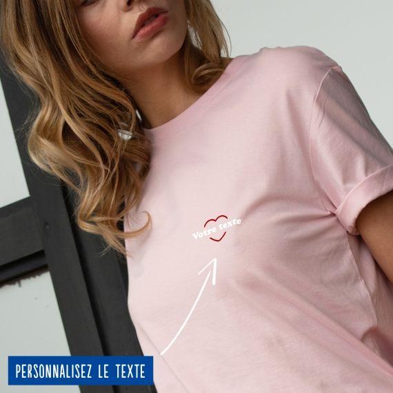 T-shirt Femme coeur rouge personnalisé