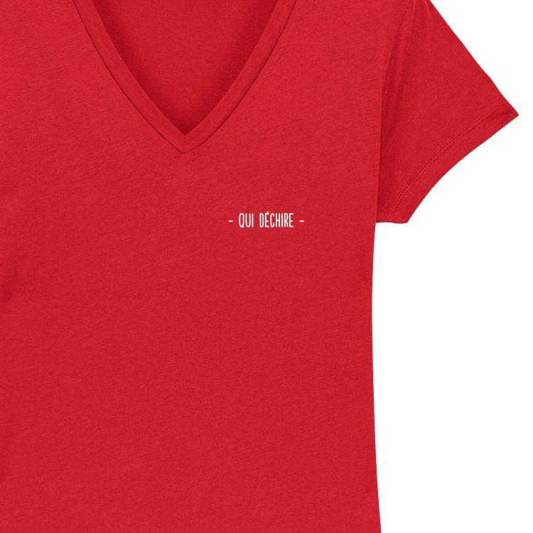 """T-shirt Femme col V """"qui déchire"""" personnalisé - 3"""