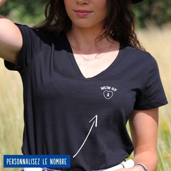 """T-shirt Femme col V """"Mum of"""" personnalisé"""