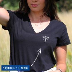 """T-shirt Femme col V """"Mum of"""" personnalisé - 4"""