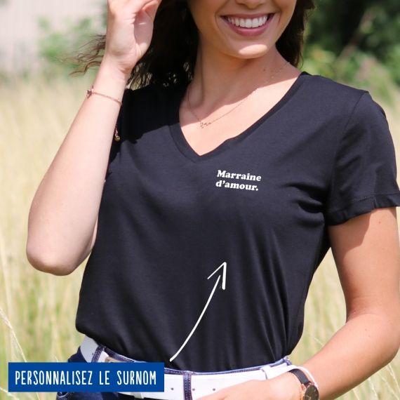 """T-shirt Femme col V """"d'amour"""" personnalisé"""