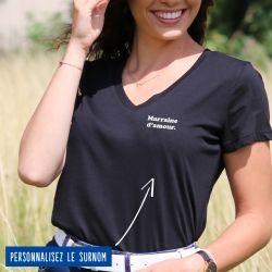 """T-shirt Femme col V """"d'amour"""" personnalisé - 4"""