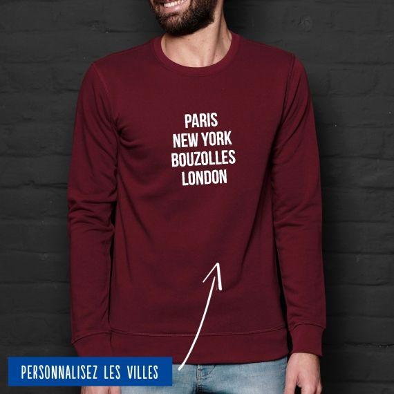Sweatshirt Homme villes personnalisables