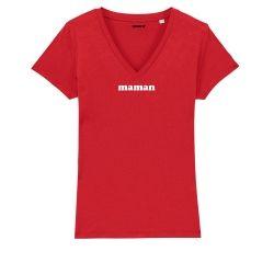 """T-shirt Femme col V """"Maman"""" personnalisé - 3"""