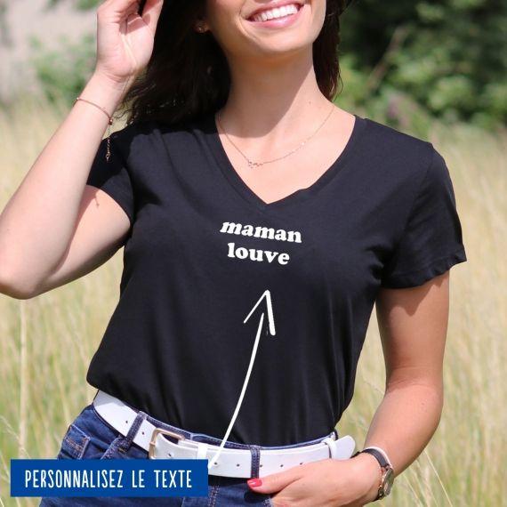 """T-shirt Femme col V """"Maman"""" personnalisé"""