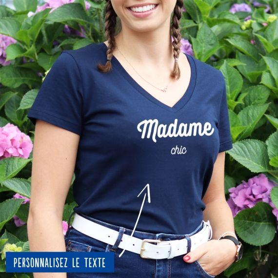 """T-shirt Femme col V """"Madame"""" personnalisé"""