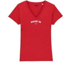 """T-shirt Femme col V """"Made in"""" personnalisé - 3"""
