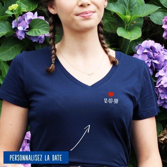 T-shirt Femme col V date personnalisée