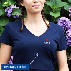 T-shirt Femme col V date personnalisée - 3