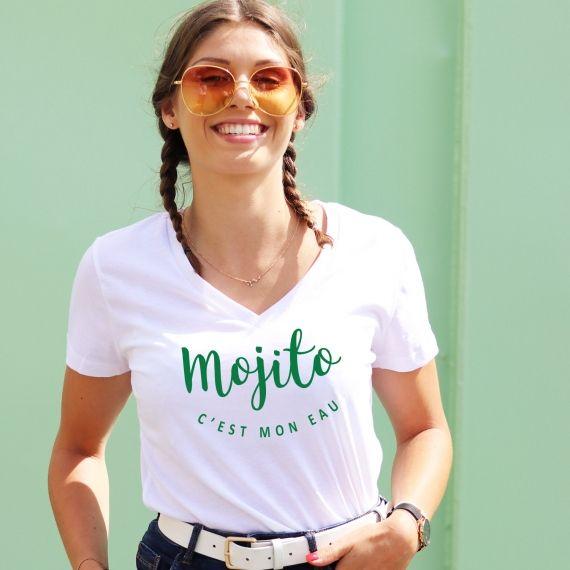 T-shirt col V - Mojito c'est mon eau - Femme