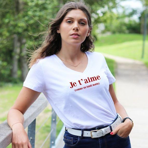 T-shirt col V - Je t'aime comme un lundi matin - Femme