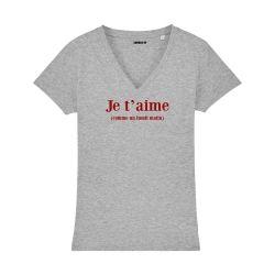 T-shirt col V - Je t'aime comme un lundi matin - Femme - 3