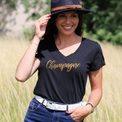 T-shirt Champagne - col V - Femme - 1